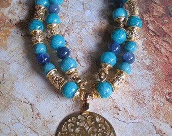 Amazonite Kyanite Vermeil Necklace