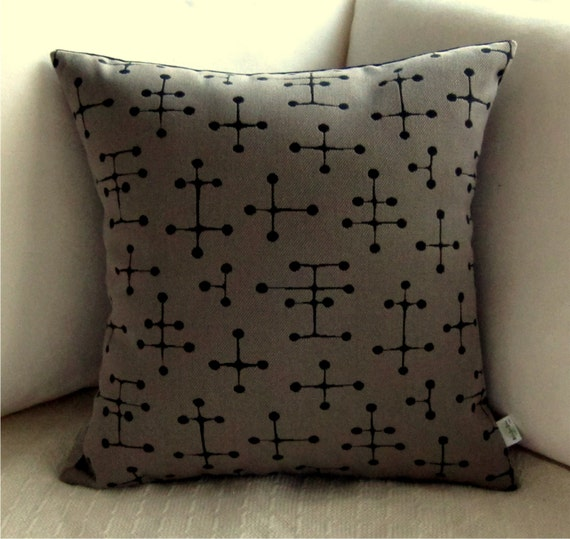 Eames Dot Retro Pillow Cover - Small Dot Pattern Taupe Grey and Black - Many Sizes Available