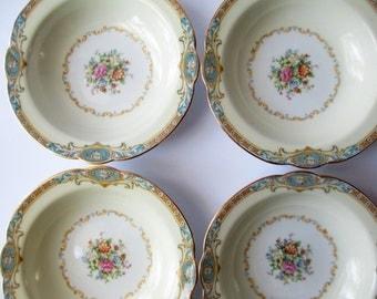 Dessert Bowls Noritake Marvelle Floral Set of Four - Vintage Chic