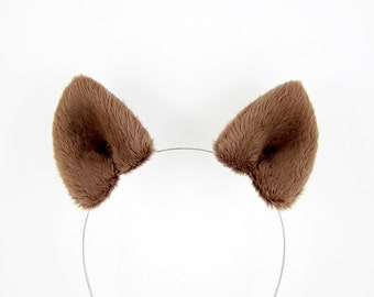 Wolf Ears Costume Cosplay Hair Clips Fluffy Plush Brown Werewolf Ears