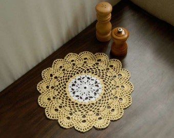 Scallop Shell Crochet Lace Doily, Yellow and White, New Table Centerpiece, Handmade, Modern Home Decor