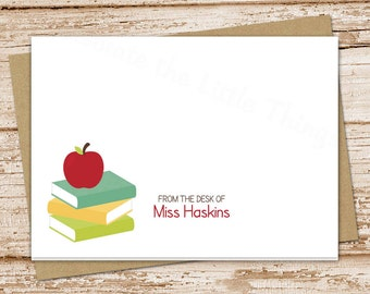 apple teacher note cards . notecards set . personalized stationery . stationary . school teacher gift . folded cards . set of 8