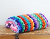 Vintage Colorful Scrap Yarn Lap Afghan Multicolored