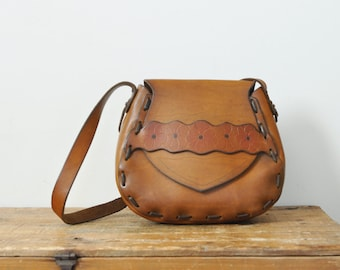 Vintage Boho Leather Shoulder Purse Hippie Tooled Flower Bag