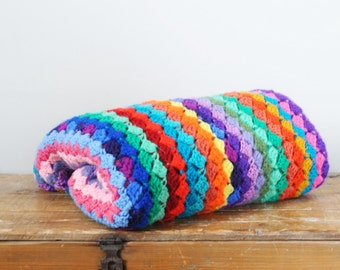 Vintage Colorful Scrap Yarn Lap Afghan Multicolored