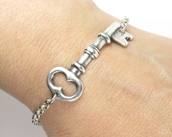 Key Bracelet- Medium Key- Sterling Silver Ox Finish