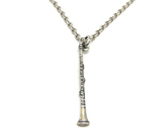 Little Clarinet Necklace- Small Clarinet Necklace- Sterling Silver Finish