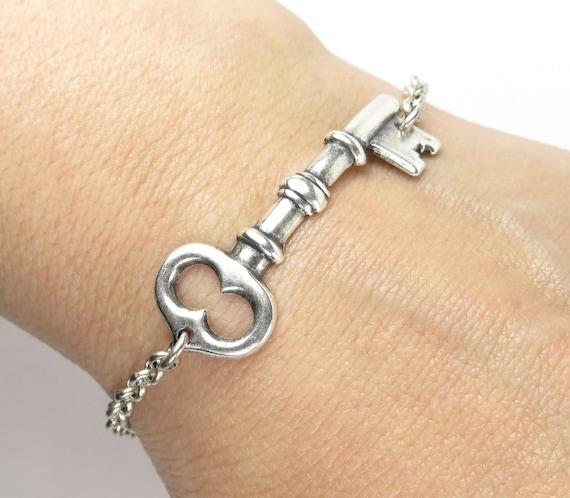 Key Bracelet- Medium Key- Sterling Silver Ox Finish