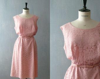 Vintage lace dress. 50s pink lace wiggle dress. size plus lace dress