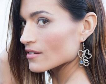 Blue Kyanite Earrings, Wire Wrap Earrings, Blue Dangle Earrings, Gemstone Earrings, Long Earrings, Blue Stone Earrings, Silver Earrings