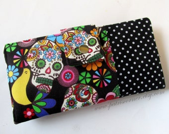 Handmade womens wallet clutch  - Dia de los Muertos - black with white dots - ID clear pocket - Ready to ship - Flowers birds and skulls -