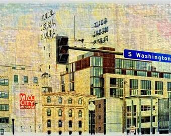 Mill District, Minneapolis, Digital Photo, Minnesota art, urban, office art, wall art, texture abstract, modern, home decor, wall art, paper