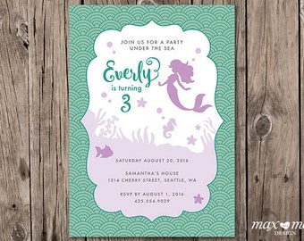 Under the Sea Birthday Invitation, Made to order, Custom, Mermaid  - 5x7in