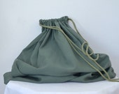1980s oversized army laundry bag // army green drawstring bag