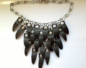Recycled Black Rubber Riveted Necklace