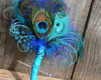Peacock Boutonniere - your choice of colors, feathers and ribbon for a Wedding, Prom - Birthday - Father's Day - Cruise - Unique Boutonniere