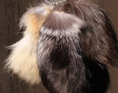 Recycled Stubby Fox Fur Tails for Keychain or Belt Loops - SUPER Fluffy!