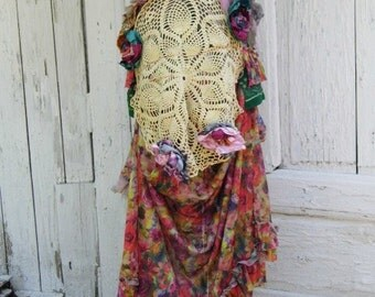 Skirt, gypsy skirt, victorian , noire, dance , fusion, bohemian, flower skirt, layers and frills, ruffle skirt,women fashion,faery,mori girl