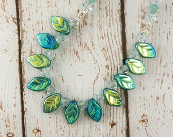 Green Teal  Aqua Glass Leaves Necklace /  Summer Jewelry / Woodland/ Nature  Lover