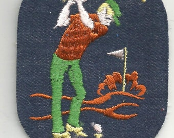 Golfer Play Golf Swing Ball Club Sports Club Vintage Patch Sewing Applique