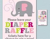 Elephant Baby Shower Diaper Raffle Ticket and Diaper Raffle Sign - Printable Kelly Medina Studios Diaper Raffle Cards, Sign