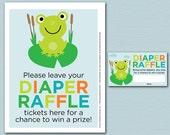 Frog Baby Shower Diaper Raffle Ticket and Diaper Raffle Sign - Printable Kelly Medina Studios Diaper Raffle Cards, Sign
