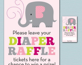 Elephant Baby Shower Diaper Raffle Ticket and Diaper Raffle Sign - Printable Kelly Medina Studios Diaper Raffle Cards, Sign