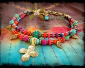 CROSS anklet Leaf charm ANKLE Bracelet colorful Gold Rainbow Hippie Gypsy Yoga beaded stackable anklet Boho Bohemian jewelry GPyoga