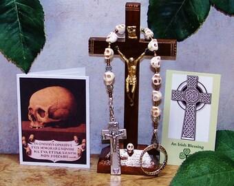 Irish Penal Rosary - One-Decade Catholic Rosary - Momento Mori Rosary - Carved Stone Skulls Rosary