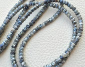 Brand New, Rare Natural Mystic Grey Cat's Eye Faceted Rondelles,4.5-5mm size,Full 8 Inch Strand,Amazing Item.