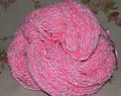Sale-- Michigan Angora Rabbit with Merino, Silk, and Sparkle in Pink /White- Big Skein 6.8 ounces