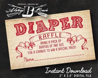 Rustic Baby Shower Diaper Raffle | Instant Download Printable File | Digital File DIY | Red Burlap Game Raffle Vintage Retro