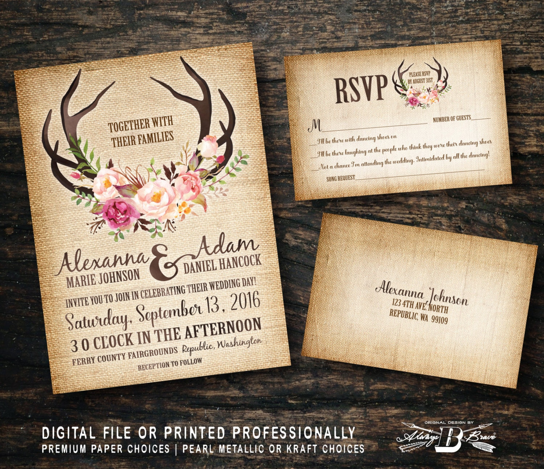 Country Wedding Invitations: Rustic Wedding Invitation SET Burlap Wedding By AlwaysBBrave