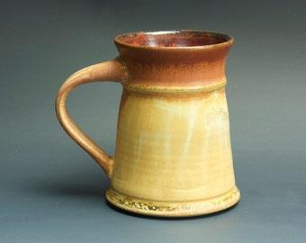 Handmade pottery coffee mug tea cup 14 oz, amber rust tea cup 3446