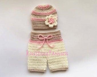Baby Girl Hat and Crochet Shorts _NewBorn Girl Crochet Outfit _Baby Girl First Outfit_ Newborn Baby Girl Crocheted Beanie and Shorts