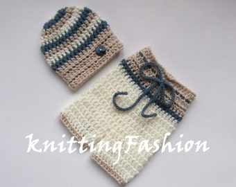 NewBorn Crochet Outfit_ Baby Boy Hat and Crochet Shorts _Baby Boy First Outfit_ Newborn Baby Boy Crocheted Beanie and Shorts