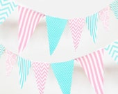Bunting, Fabric Garland, Turquoise, Pink, Fabric Banner Flags, Wedding Party Banner, Chevron, Photo Prop, Baby Nursery Decor, Bridal Shower