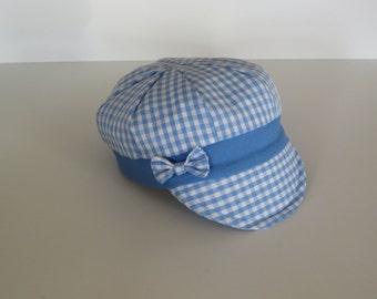 Light Blue Gingham Cotton Baby Newsboy Cap Baby Boy Cap Baby Boy Hat