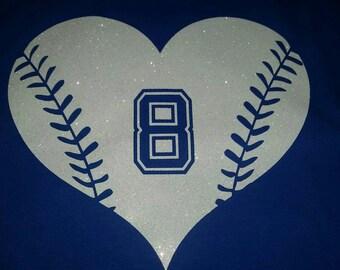 Baseball heart bling tee, Baseball Mom Shirt, Personalized Baseball Shirt, Baseball Shirt, Bling Shirt, Baseball Grandma Shirt, Baseball