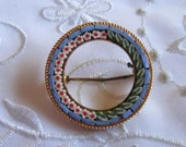 Vintage Mosaic Tile Circle Pin with Flower and Leaf Design