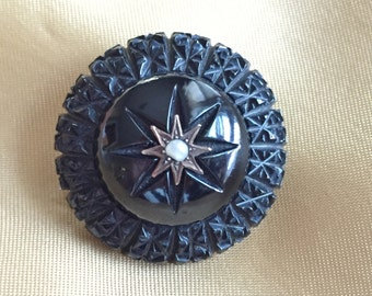 Victorian Whitby Jet Mourning Brooch with Gold & Seed Pearl