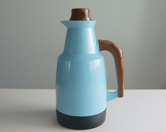 Vintage Husqvarna Sweden Turquoise Blue Thermos Carafe with Wood Stopper
