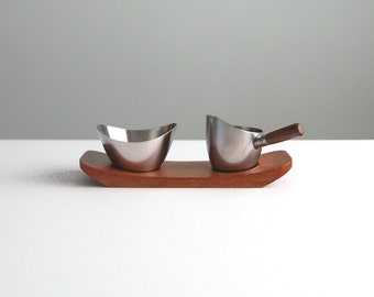 Danish Modern Stainless Steel Creamer and Sugar Serving Set