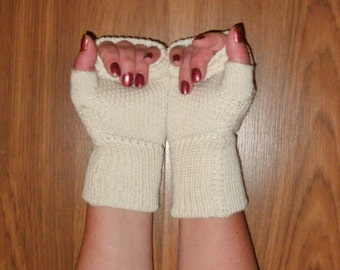 Luxury knit mink and merino wool fingerless gloves, wrist warmers