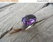 ON SALE Deep purple amethyst ring handmade in sterling silver
