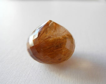 AAA Rutilated Quartz  Copper Rutiles Multi Faceted Onion Briolette 16mm X 14mm