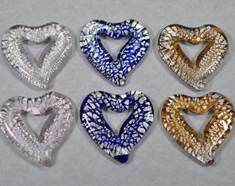 Murano style glass heart pendants,3 colors, 45x45mm, #735
