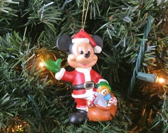 25% OFF SALE Vintage Mickey Mouse Ornament Christmas Decoration Mickey Mouse Santa Claus Gift For Her