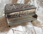 Piano Jewelry Music Box Silver Filigree  Vintage at Quilted Nest