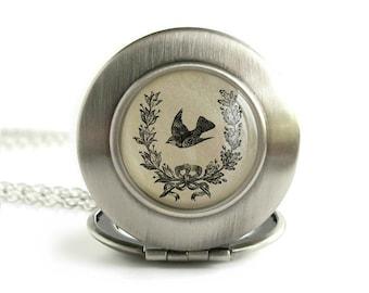 Little Bird Locket. Italian Quote Locket. Vintage Stamping Antique Silver Locket Necklace. Victorian Sparrow Necklace. Passerotto Mio.